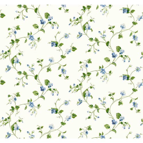 York Wallcoverings Waverly Cottage White, Cream, Green and Blue Violets Trail Wallpaper: Sample Swatch Only
