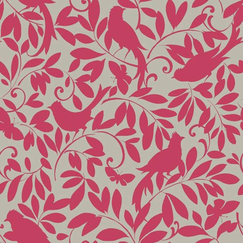 York Wallcoverings Waverly Cottage Silver Sheen and Magenta Pink Birdsong Wallpaper: Sample Swatch Only