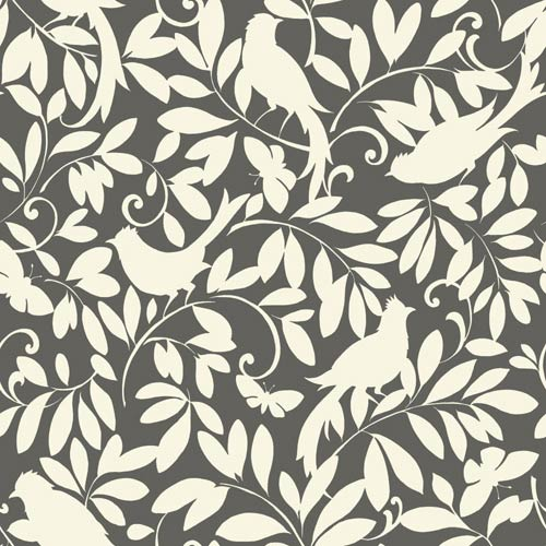 York Wallcoverings Waverly Cottage Hematite Grey and Cream Birdsong Wallpaper