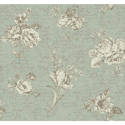 York Wallcoverings Waverly Cottage Soft Gold, White and Aquamarine Picture Perfect Wallpaper