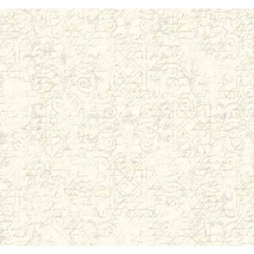 York Wallcoverings Waverly Cottage Cream and Pearlescent Ivory Pen Pal Wallpaper