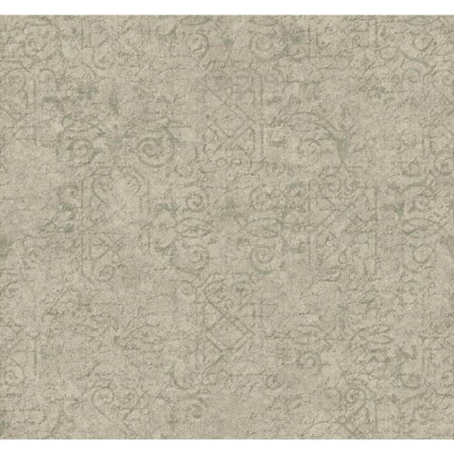 York Wallcoverings Waverly Cottage Spale Grey, Soft Silver and Graphite Grey Pen Pal Wallpaper: Sample Swatch Only