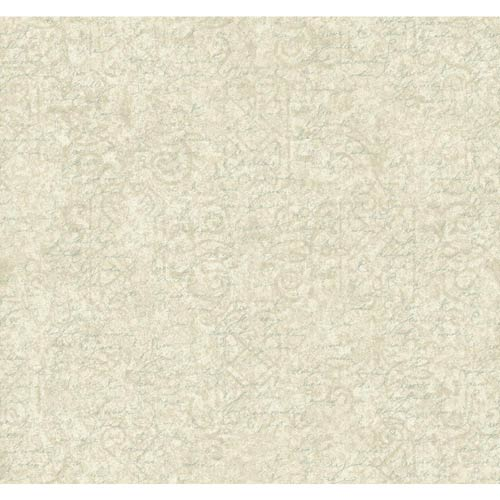 York Wallcoverings Waverly Cottage Cream, Soft Silver and Aquamarine Pen Pal Wallpaper: Sample Swatch Only