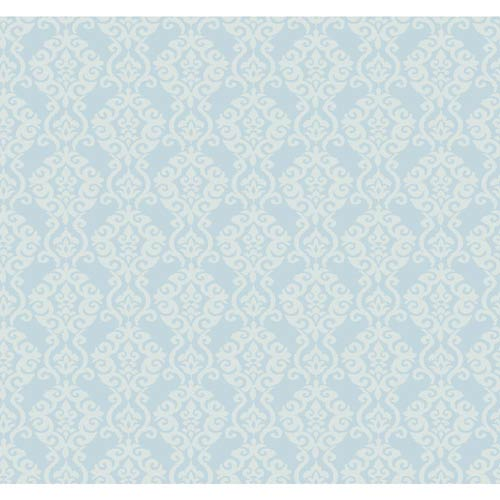 York Wallcoverings Waverly Cottage Misty Blue and Cloud White Luminary Wallpaper: Sample Swatch Only