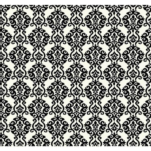 York Wallcoverings Waverly Cottage White and Ebony Black Luminary Wallpaper: Sample Swatch Only