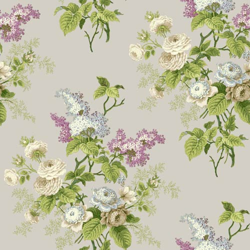York Wallcoverings Waverly Cottage Beige Pale Blue and Lilac Emmas Garden Wallpaper: Sample Swatch Only