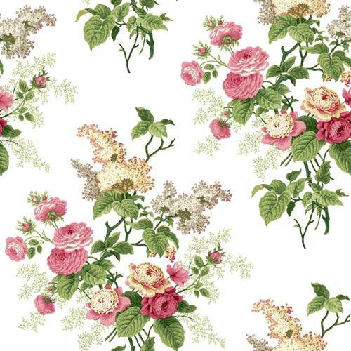 Waverly Cottage Pink Green and Butterscotch Emmas Garden Wallpaper