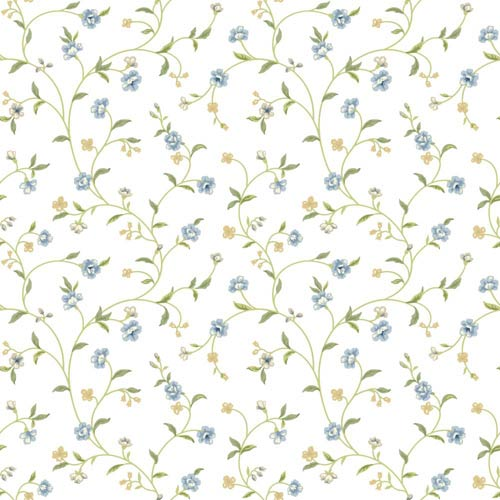 York Wallcoverings Waverly Cottage Light Blue, Green, Beige, Butterscotch Bellisima Vine Wallpaper: Sample Swatch Only