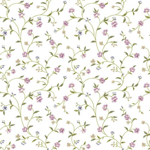 York Wallcoverings Waverly Cottage Olive Green, Beige and Pink Bellisima Vine Wallpaper: Sample Swatch Only