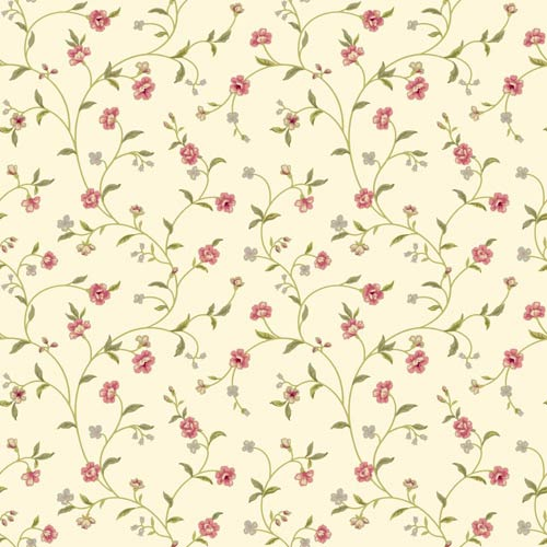Waverly Cottage Rich Cream, Pink, Olive Greens and Beige Bellisima Vine Wallpaper