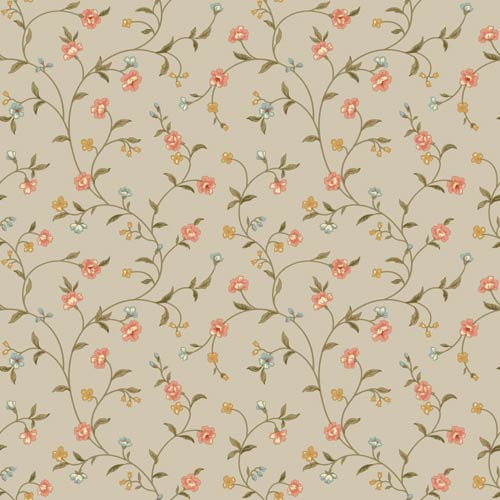 York Wallcoverings Waverly Cottage Icy Blue, Peaches, Brown and Butterscotch Bellisima Vine Wallpaper: Sample Swatch Only