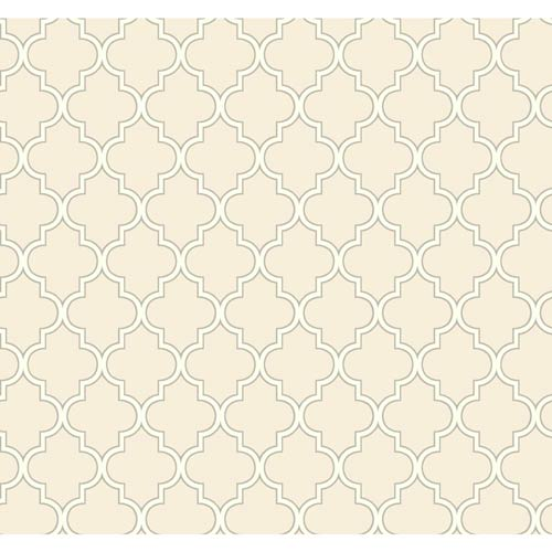 York Wallcoverings Waverly Cottage Creamy White and Grey Buzzing Around Trellis Wallpaper