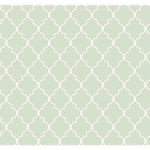 York Wallcoverings Waverly Cottage Icy Blue and Rich Cream Buzzing Around Trellis Wallpaper: Sample Swatch Only