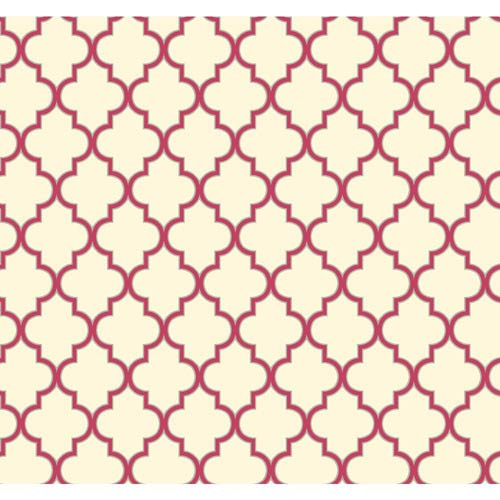 York Wallcoverings Waverly Cottage Cream, Sizzling Pink and Sterling Silver Buzzing Around Trellis Wallpaper: Sample Swatch