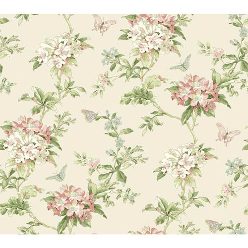 York Wallcoverings Waverly Cottage Buttermilk Pink White And Mint Green Fawn Hill Wallpaper