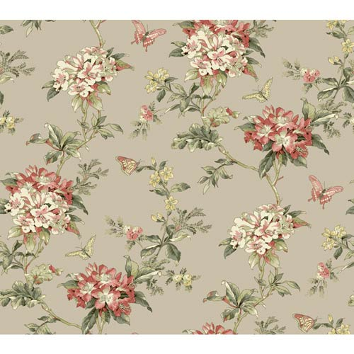 Waverly Cottage Rich Cream, Butter Yellow and Olive Green Fawn Hill Wallpaper