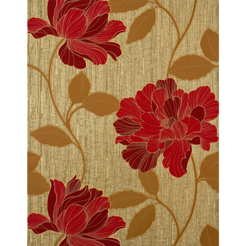Enchantment Crimson, Scarlet, Glowing Gold and Mocha Charming Wallpaper: Sample Swatch Only
