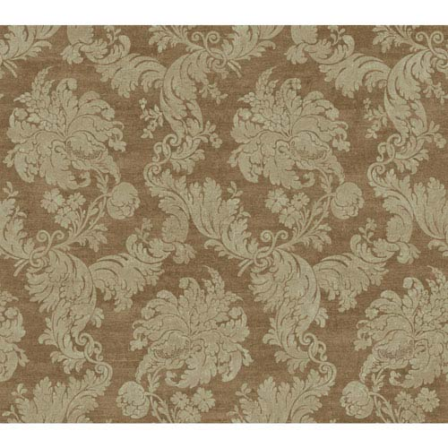 York Wallcoverings Vintage Luxe Tan And Metallic Regent Damask Wallpaper