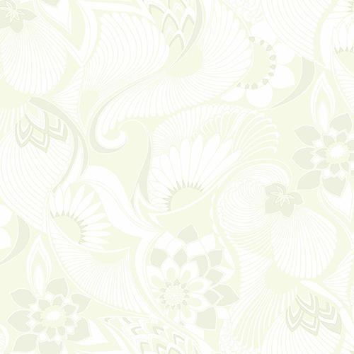 Florence Broadhurst White Aubrey Wallpaper