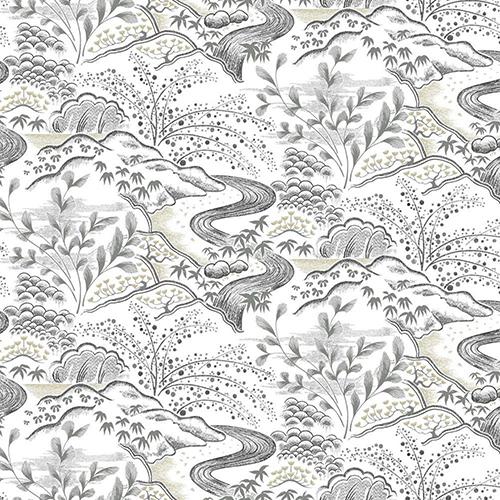 Florence Broadhurst Grey Waterfall Gardens Wallpaper