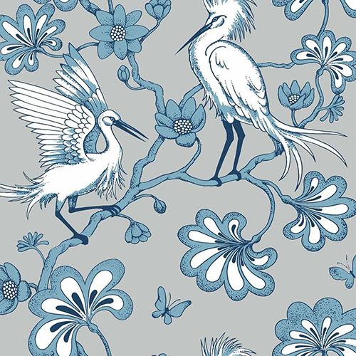 Florence Broadhurst Blue Egrets Wallpaper