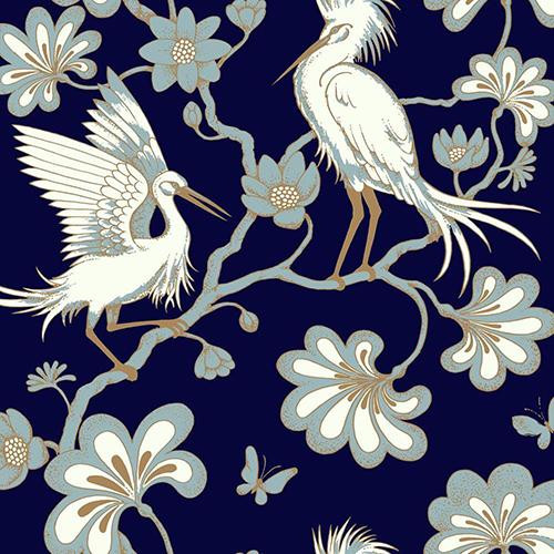 Florence Broadhurst Navy Egrets Wallpaper