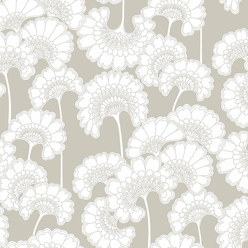 Florence Broadhurst Taupe Japanese Floral Wallpaper - SAMPLE SWATCH ONLY