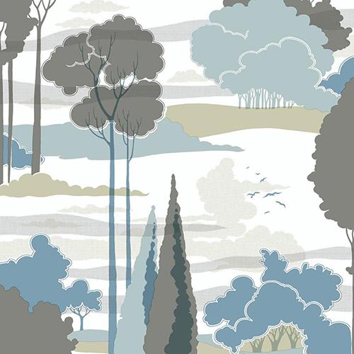 Florence Broadhurst Blue Macarthur Park Wallpaper