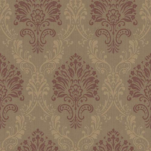 York Wallcoverings Riverside Park Cocoa, Wheat Straw and Maroon Wallpaper: Sample Swatch Only