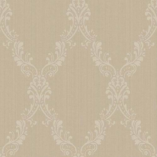 York Wallcoverings Riverside Park Pale Taupe, Crème and Wisteria Wallpaper: Sample Swatch Only