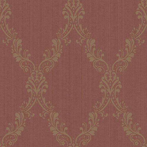 York Wallcoverings Riverside Park Russet and Wheat Wallpaper: Sample Swatch Only