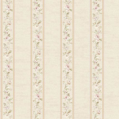York Wallcoverings Riverside Park Warm White, Pale Pink, Tan and Soft Green Wallpaper: Sample Swatch Only