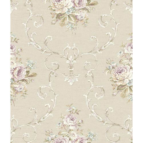 York Wallcoverings Riverside Park Champagne, White, Plum, Wisteria, Aqua, Green and Tan Wallpaper: Sample Swatch Only