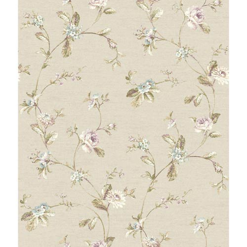 York Wallcoverings Riverside Park Linen, Aqua, Olive Green, Wisteria, Plum and Tan Wallpaper: Sample Swatch Only