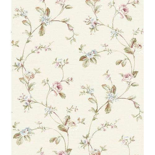 York Wallcoverings Riverside Park Creamery, Peony Pink, Rosebud, Tender Green and Amber Wallpaper: Sample Swatch Only