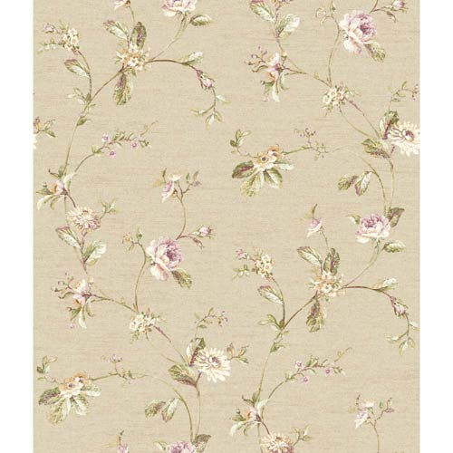 York Wallcoverings Riverside Park Flax Tan, Peony Pink, Cranberry, Yellow and Grass Green Wallpaper: Sample Swatch Only