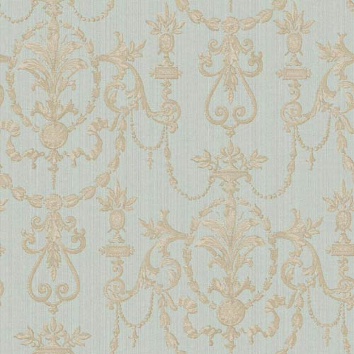 York Wallcoverings Riverside Park Sky Blue, Soft Gold and Taupe Wallpaper: Sample Swatch Only