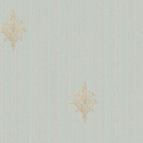 York Wallcoverings Riverside Park Sky Blue, Soft Gold and Taupe French Detail Wallpaper: Sample Swatch Only