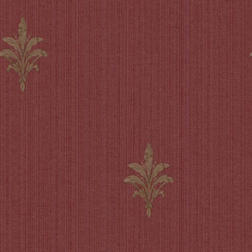 York Wallcoverings Riverside Park Russet, Tan and Brown French Detail Wallpaper: Sample Swatch Only