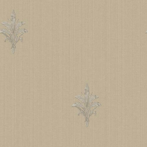York Wallcoverings Riverside Park Pale Taupe and Soft Lilac Gray French Detail Wallpaper: Sample Swatch Only