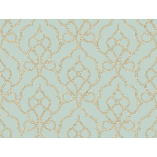 York Wallcoverings Filigree Tiara Blue Wallpaper - SAMPLE SWATCH ONLY