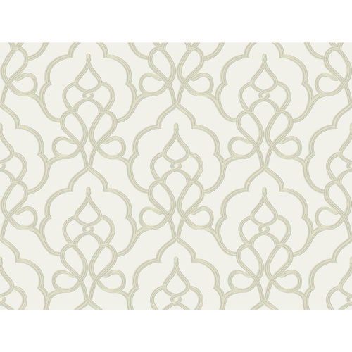 York Wallcoverings Filigree Tiara White Wallpaper - SAMPLE SWATCH ONLY
