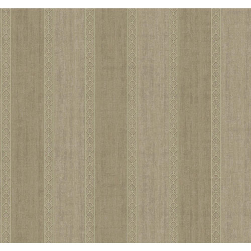 York Wallcoverings Filigree Oculus Stripe Brown Wallpaper - SAMPLE SWATCH ONLY