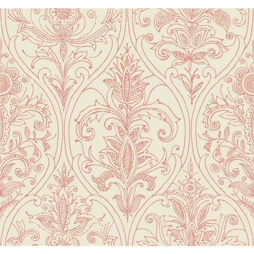Filigree Detail Damask Red Wallpaper