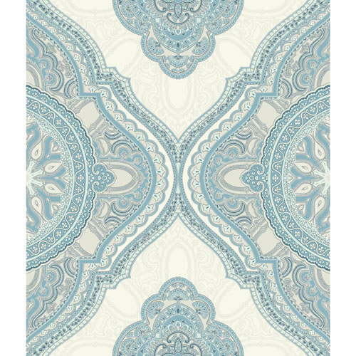 York Wallcoverings Filigree Paisley Medallion Blue Wallpaper