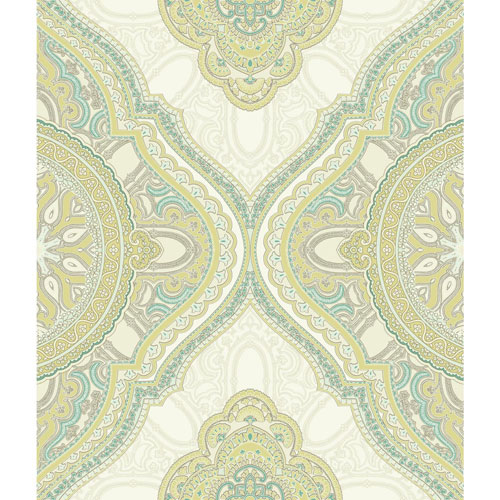 Filigree Paisley Medallion Green Wallpaper - SAMPLE SWATCH ONLY