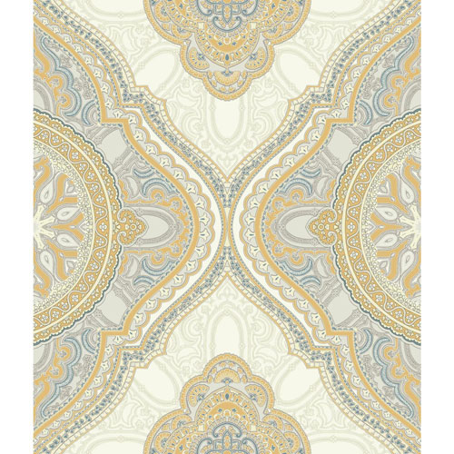 Filigree Paisley Medallion Yellow Wallpaper
