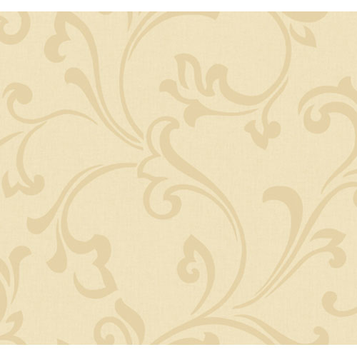 York Wallcoverings Artistry Sand and Silk Scroll Wallpaper: Sample Swatch Only