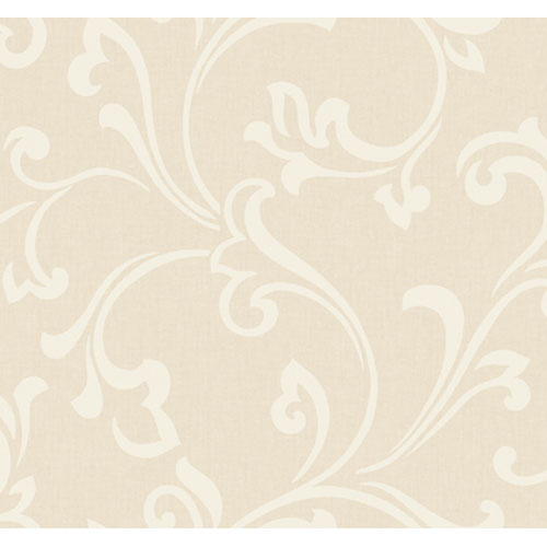 York Wallcoverings Artistry Linen and Off White Scroll Wallpaper: Sample Swatch Only