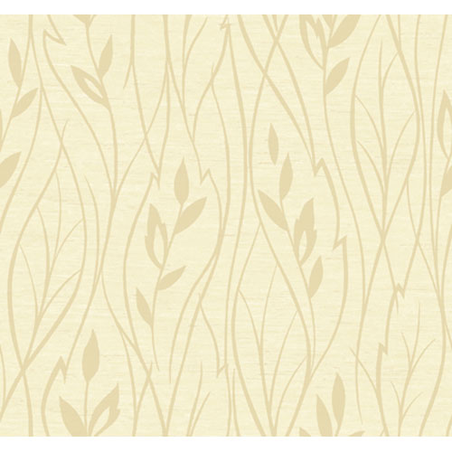 York Wallcoverings Artistry Cream Gold Vertical Leaf Wallpaper: Sample Swatch Only